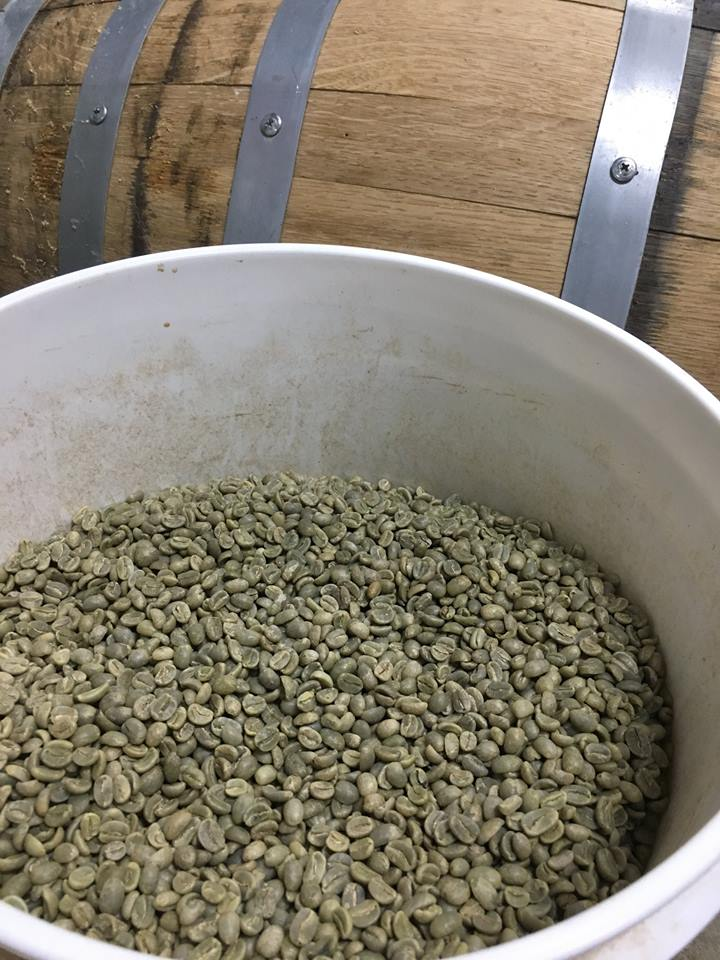 green coffee beans, coffee, green, barrel, bourbon